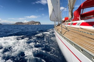 Yacht, Sailing boat in the sea of Sardinia, Italy